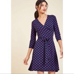 NWT MODCLOTH LEOTA geometric Wrap Dress